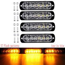 4X Amber 6 LED Emergency Strobe Grille Light Kit Bar Marker Flash Warning Lamp