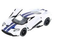 """New 5"""" Kinsmart 2017 Ford GT w Stripes 1:38 Scale Diecast Model Toy Car- WHITE"""