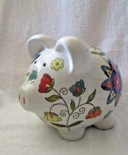 Pretty Pig Piggy Bank Colorful Flower Designs