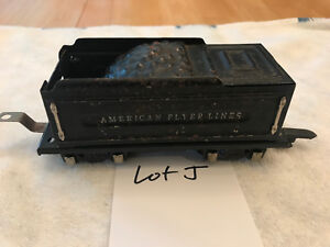 American Flyer Train O Gauge 8 Wheel Black Coal Tender w/SILVER Accents Lot J