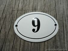 SMALL ANTIQUE STYLE ENAMEL DOOR NUMBER 9 SIGN PLAQUE HOUSE NUMBER SIGN