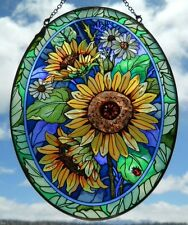 """AMIA Stained-Glass Look """"Sunflowers""""  Suncatcher -  Hand Painted - NEW"""