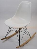 White Eiffel Mid-Century Modern Rocker Side Rocking Chair Steel Legs Wood Base