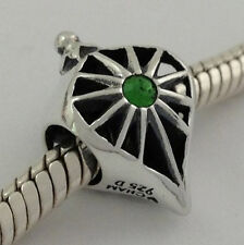 Authentic Chamilia 925 Silver Glorious Fern Green Bead Charm 2025-0802, New