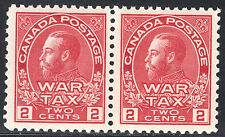 Canada 2c KGV War Tax Pair, Scott MR2, VF MNH, catalogue - $210