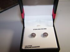 Finecraft 1/4Ct Diamond Screw Back Earrings - Sterling Silver