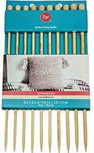 Boye Bamboo Knitting Needle Set, 10 Pieces, US Sizes 6, 7, 8, 9 and 10 New
