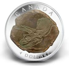 2008 Canada Fine Silver $4 Tricerotops Dinosaur Fossil Proof Coin
