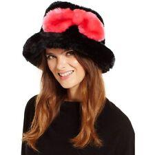 Kate Spade Women's Black Faux Fur Bucket Hat, Black/Pink Swirl