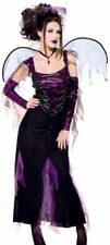 Fallen Angel Costume 5Pc Blk/Purp Velour Gown Wings Sleevelettes & Halo MD