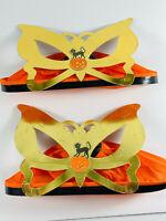 Pair (x2) Paper Crepe Vintage Halloween Black Cat Pumpkin tissue hats