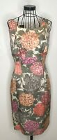 Pretty Ladies HOBBS Green Pink Floral Leaf Silk Mix Pencil Shift Dress UK 10