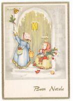 Niñas Campanilla Casa Regalos Por Navidad Juguetes Muñeca Tarjeta Postal Años 60