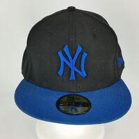 NY Yankees Fitted 7 5/8 Black Crown Blue Bill New Era Baseball Wool Hat or Cap