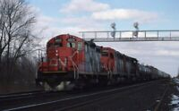 CN CANADIAN NATIONAL Railroad Locomotives Freight Train Original Photo Slide