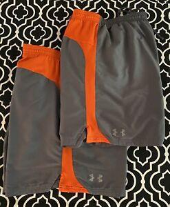2 pair Mens Under Armour lined athletic running shorts 2XL Gray Orange HeatGear