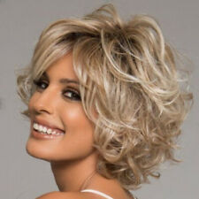 Women's Fashion Short Blonde Curly Hair Ombre Gold Wavy Cosplay Party Full Wigs