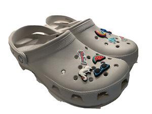 Crocs Women 10 Mens 8 Classic Jibbitz II Clog shoe gray Aloha Beach Charms