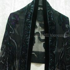 Silk Blend Paisley pattern shawl Victorian style with teal green and purple acce