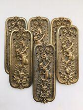 3 Pairs  * 6 Vintage Regency BRASS CHERUB & Foliage FINGER PLATES Period Doors *