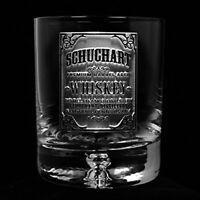Engraved Lead-Free Crystal Rocks Glass, Bourbon Whiskey Glasses SET OF 4 (wskyla