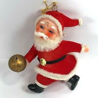 Vintage Flocked Felt Santa with Bowling Ball Christmas Ornament 4in Plastic Face