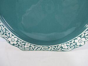 Harker Platter Plates Floral Band Teal Green White Square Vintage China Set of 4