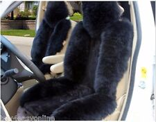 1pc Black Real Fur Sheepskin Car Seat Covers One Size Fit most (Universal Fit)