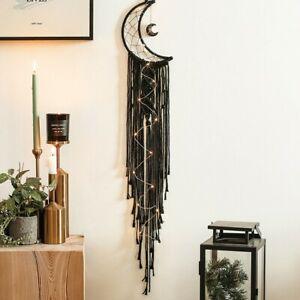 Moon Macrame Dream Catcher Wall Hanging Tapestry Woven Nursery Craft Handmade