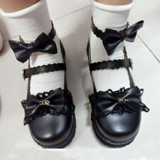 Japanese Lolita Girls Bow Flats Cosplay Uniform Round Toe Shoes Sweet Mary Janes