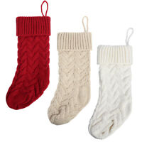 """6 Pack Cable Knitted Xmas Rustic Christmas Stocking Decoration for Holiday 14.5"""""""