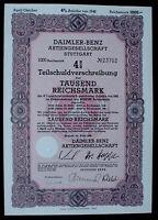 German Car Manufacturer Daimler Benz 4% 1000 Reichsmark Bond Stuttgart 1942