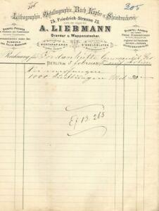 GRAVEUR- u. WAPPENSTECHER A. Liebmann, Berlin, Rechnung von 1875