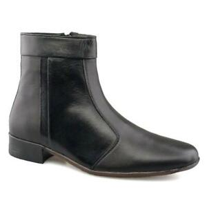 MENS SOFT LEATHER ANKLE ZIP UP BOOTS UK SIZE'S 7-12 BLACK SCIMITAR M753A UKD