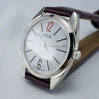 ORIS 17 JEWELS SWISS MADE WHITE RED DIAL & NEW BRAND MAROON BAND WATCH PUSH-BACK