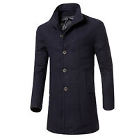 Formal Trench Coat Peacoat Overcoat Men Long Wool Jacket Outwear Fit 4 Colours