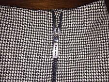 Ralph Lauren Houndstooth Check Pencil Skirt 4 Exposed Zipper Wool Blend Stretch