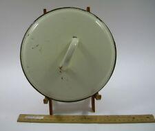 """White ENAMELl Bean Pot Kettle Pan Crock LID 8.5""""w handle Old Antique Vintage"""