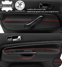 RED STITCH 2X FRONT DOOR CARD TRIM COVERS FOR VW GOLF MK4 98-05 5 DOOR STYLE2