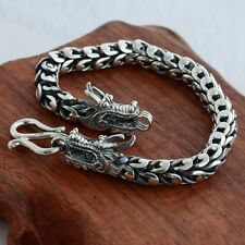 """New Classic S925 Silver Bracelet Man's 7mm Perfect Dragon Head Lucky Chain 8.2""""L"""