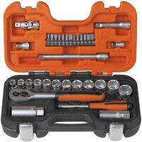 """BAHCO 34 Piece S330 3/8"""" Metric/AF Socket Set & Ratchet + 1/4"""" Screwdriver Bits"""