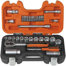 "BAHCO 34 Piece S330 3/8"" Metric/AF Socket Set & Ratchet + 1/4"" Screwdriver Bits"
