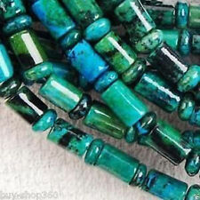 "6x9mm Column Azurite Chrysocolla Gemstone Loose Bead 15"""