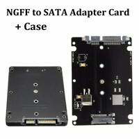 B+M key Socket 2 M.2 NGFF (SATA) SSD To 2.5 SATA Adapter Card With Case Black