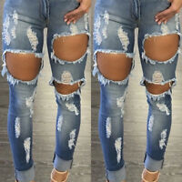 Women High Waist Ripped Distressed Skinny Slim Denim Pants Jeans Jegging Sizes