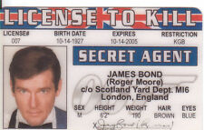 Roger Moore James Bond novelty plastic collectors card Drivers License to kill