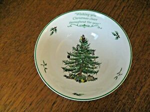 """VINTAGE SPODE CHRISTMAS TREE BOWL WITH RARE MOTTO 16 Cms (6  1/4"""") IN Dia S3324"""