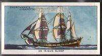 18 Gun English Sloop-Of-War Navy Sailing Ship  80 Y/O Ad Trade Card