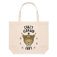 Crazy Leopard Lady Large Beach Tote Bag - Funny Animal Shopper Shoulder