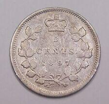 1897 NARROW 8 Five Cents Silver VF ** Nice HIGH Grade BETTER Victoria Canada 5¢